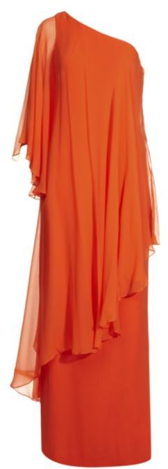 Notte By Marchesa One-Shoulder Kaftan Gown