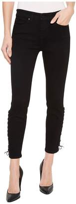 Liverpool Alyssa Crop with Side Ankle Lace-Up in Stretch Denim in Black Rinse Women's Jeans