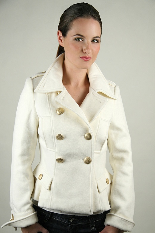 Blanc Noir Double Breasted Wool Jacket in Winter White