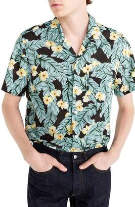 J.Crew J. CREW Short Sleeve Jungle Print Slub Cotton Shirt