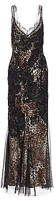 Amen Women's Leopard-Print Embroidered Sleeveless Maxi Dress
