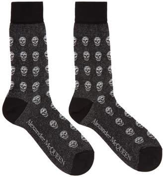 Alexander McQueen Black Glittered Skull Socks