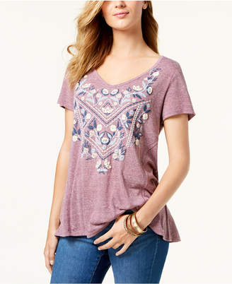 Style&Co. Style & Co Petite Embroidered Swing T-Shirt, Created for Macy's