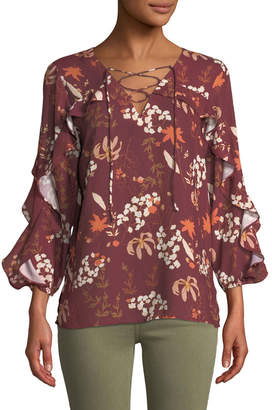Neiman Marcus Ruffle-Sleeve Floral-Print Sateen Blouse
