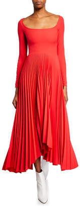 Awake Scoop-Neck Long-Sleeve Pleated Dress