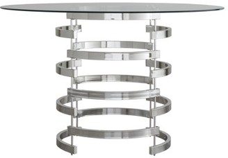"Weston Home 48"" Round Glass Dining Table with Modern Openwork Metal Base"