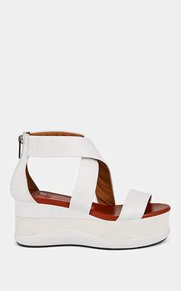 Chloé Women's Stamped-Leather Wedge Platform Sandals - White