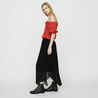 Maje Long pleated embroidered skirt
