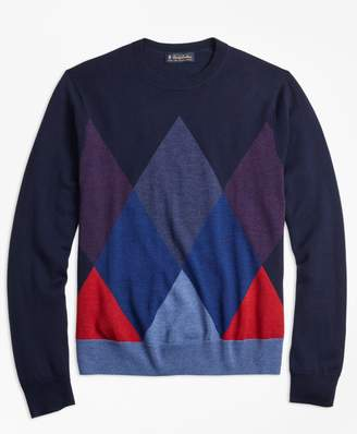 Brooks Brothers Merino Wool Argyle Crewneck Sweater