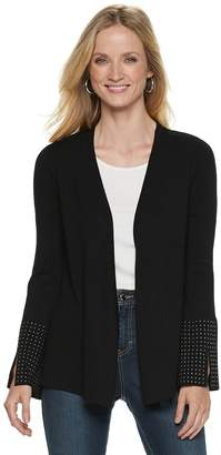 JLO by Jennifer Lopez Women's Studded Cuff Open-Front Cardigan