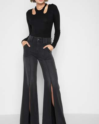 7 For All Mankind Palazzo Pant with Front Seam Splits in Noir