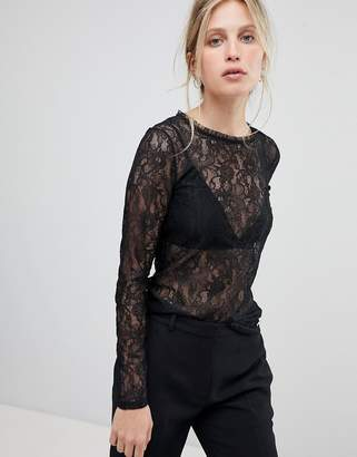 Morgan Going Out Allover Lace Top