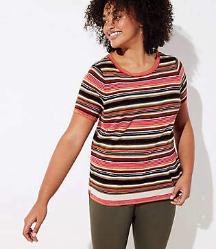 LOFT Plus Mixed Stripe Short Sleeve Sweater