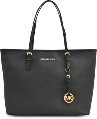 MICHAEL Michael Kors Jet Set Travel Top Zip Tote Bag in Black Saffia Leather