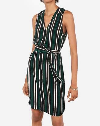 Express Striped Sash Waist Shirt Dress
