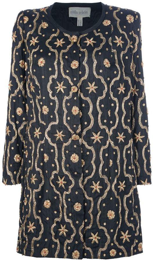 Mila Schon Vintage embellished long jacket