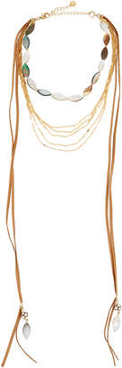 Lydell NYC Multi-Strand Layered Abalone Choker Necklace, Multi