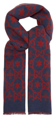 Gucci Gg Logo Intarsia Wool Blend Scarf - Mens - Blue