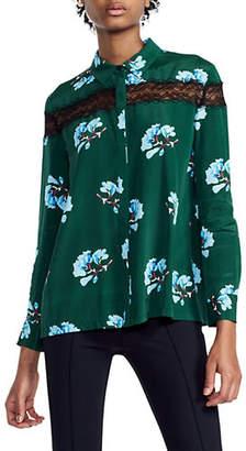 Maje Ciloise Floral Silk-Blend Shirt