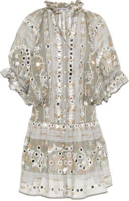 Juliet Dunn Embroidered Cotton Blouson Dress