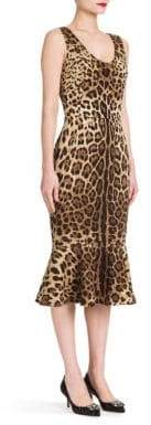 Dolce & Gabbana Leopard Stretch-Silk Flutter-Hem Dress