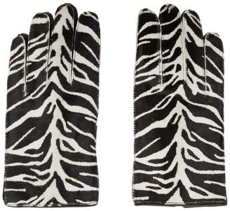 Raf Simons Black and White Leather Zebra Gloves