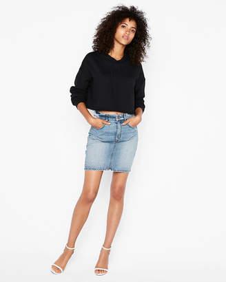 Express Super High Waisted Vintage Denim Mini Skirt