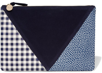 Clare V. - Patchwork Printed Leather And Suede Clutch - Blue $235 thestylecure.com