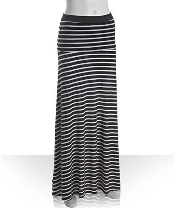 BCBGMAXAZRIA black and white striped knit 'Karolin' maxi skirt