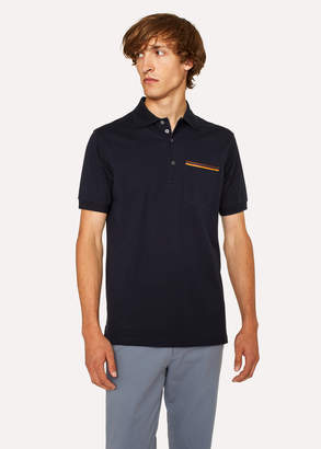 Paul Smith Men's Slim-Fit Dark Navy Cotton-Pique Polo Shirt With 'Artist Stripe' Pocket