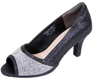 Floral FLORAL Noemi Women Extra Wide Width Open-Toe Rhinestone Slip-On Party Heeled Dress Pumps BLACK 10.5