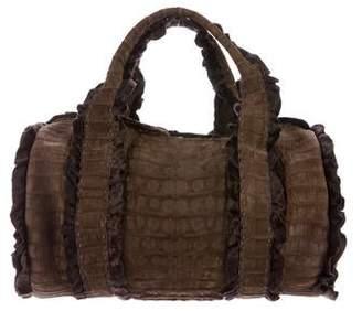 Dennis Basso Ponyhair-Trimmed Crocodile Bag