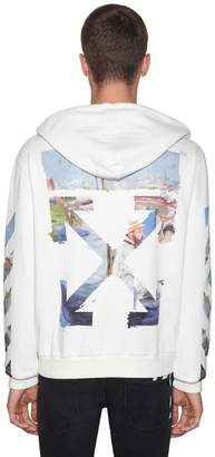 Off-White Printed Arrow Cotton Jersey Hoodie