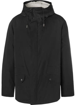 Yves Salomon Canvas Hooded Down Parka With Detachable Shearling Lining