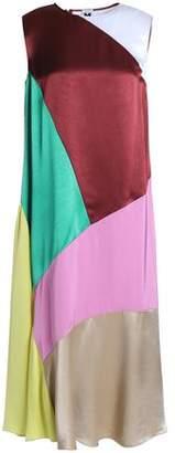 M Missoni Fluted Color-Block Satin And Satin-Crepe Midi Dress