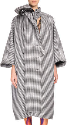 Balenciaga Plaid Button-Front Oversized Necktie Coat
