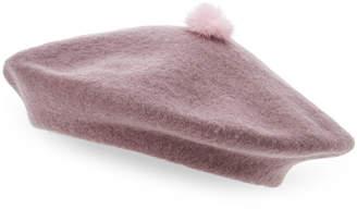 Hat Attack Real Mink Fur Pom-Pom Beret