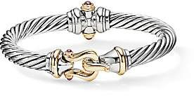 David Yurman Cable Buckle Sterling Silver, 14K Gold& Rhodolite Garnet Bracelet