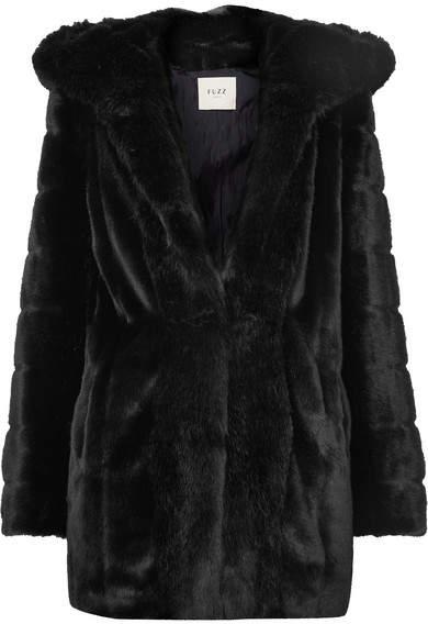 Fuzz Not Fur - Skate Moss Hooded Faux Fur Coat - Black