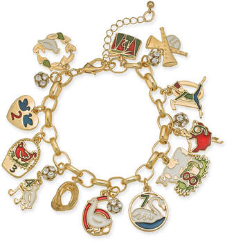 Charter Club Holiday Lane Gold-Tone Crystal, Stone & Epoxy Twelve Days of Christmas Charm Bracelet