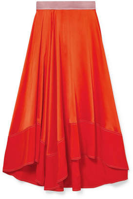 Roksanda Shona Asymmetric Silk-satin Midi Skirt