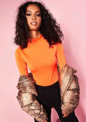 Missy Empire Missyempire Penni Neon Orange High Neck Bodysuit