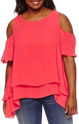 Boutique + + Short Sleeve Cold Shoulder Woven Blouse - Plus