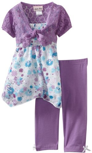 Little Lass Girls 2-6X 3 Piece Floral Skimp with Shrug and Legging