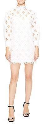 Sandro Women's Houle Eyelet High-Neck Mini Dress