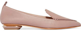 Nicholas Kirkwood Beya Textured-leather Point-toe Flats - Pastel pink