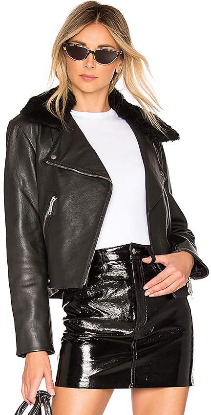 LTH JKT Liv Supreme Biker Jacket With Shearling Collar