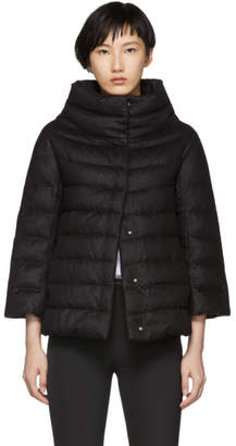 Herno Black Cashmere and Silk Lurex Down Cape Jacket