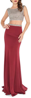 Mac Duggal Two-Piece Gown Set with Bead Embellished Crop Top & Jersey Skirt