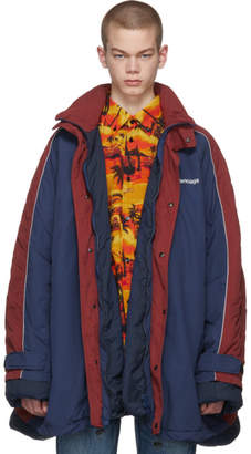 Balenciaga Navy and Red Europe Padded Parka